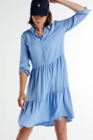 blousejurk Karolina  met volant blauw