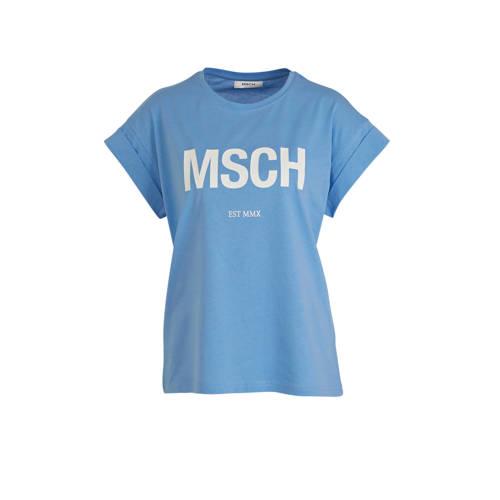 MSCH Copenhagen T-shirt met logo lichtblauw