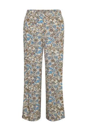 loose fit broek met all over print beige/blauw