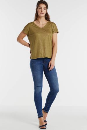 linnen T-shirt met glitters goud
