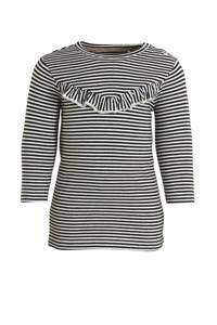 LEVV gestreepte jersey jurk wit/zwart, Wit/zwart