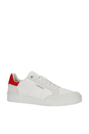 T1316 SPT M  leren sneakers wit/rood