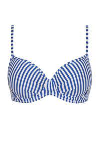 Cyell gestreepte beugel bikinitop blauw/ivoor
