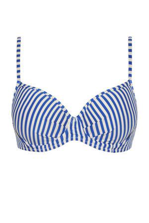 gestreepte beugel bikinitop blauw/ivoor