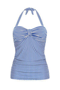 Cyell gestreepte tankini bikinitop blauw/ivoor