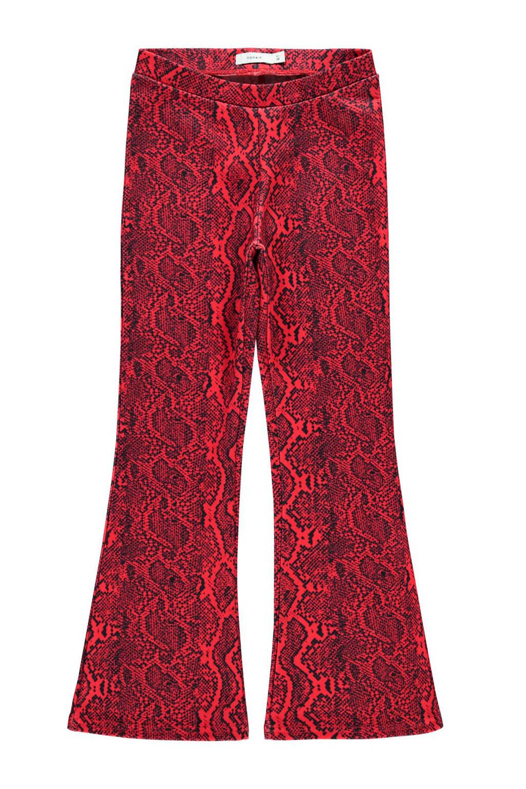 NAME IT KIDS flared broek met slangenprint rood/zwart, Rood/zwart