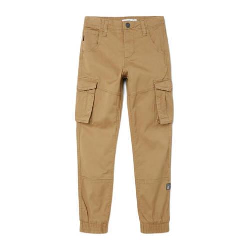 NAME IT KIDS skinny broek met cargozakken bruin