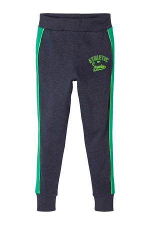 joggingbroek met zijstreep donkerblauw/groen