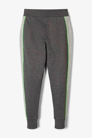 joggingbroek met tekst grijs/donkergrijs/groen