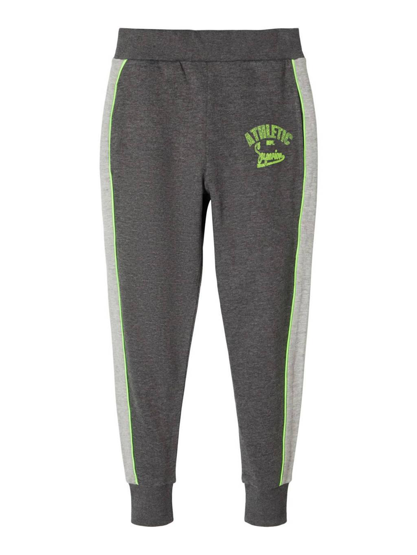 NAME IT KIDS   joggingbroek met tekst grijs/donkergrijs/groen, Grijs/donkergrijs/groen