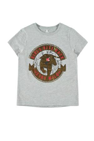 T-shirt met printopdruk grijs melange