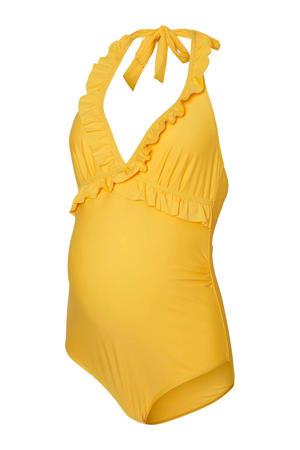 positie halterbadpak Anita met ruches geel