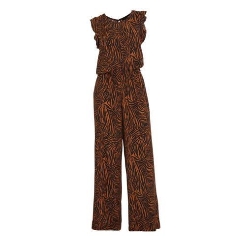 anytime jumpsuit met zebraprint zwart/brique