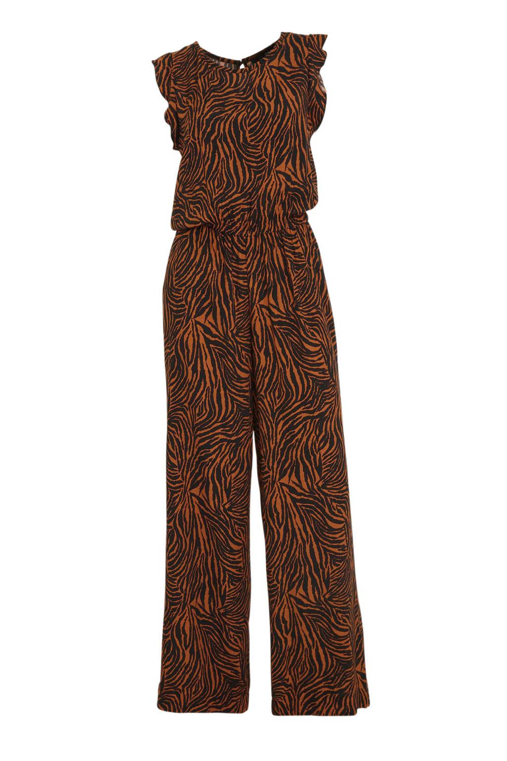 anytime jumpsuit met zebraprint zwart/brique, Brique/zwart