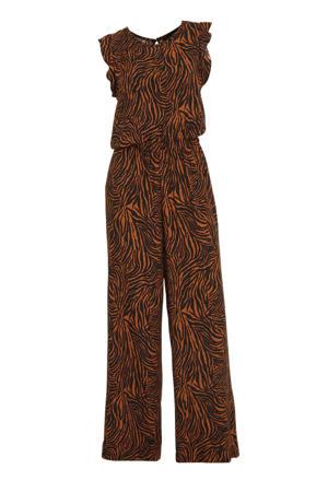 jumpsuit met zebraprint zwart/brique