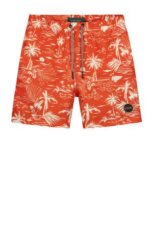 zwemshort Kauai met all over print rood/wit