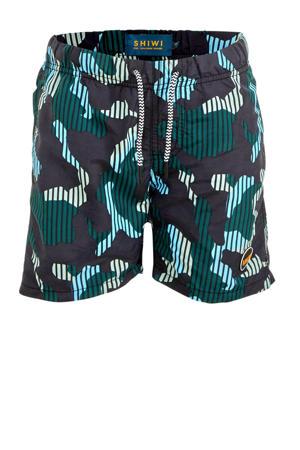 zwemshort Camouflage met all over print groen/zwart