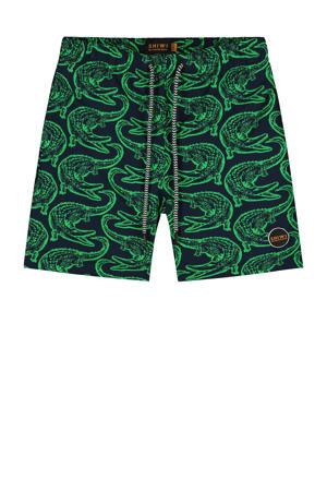 zwemshort Alligator met all over print donkerblauw/groen