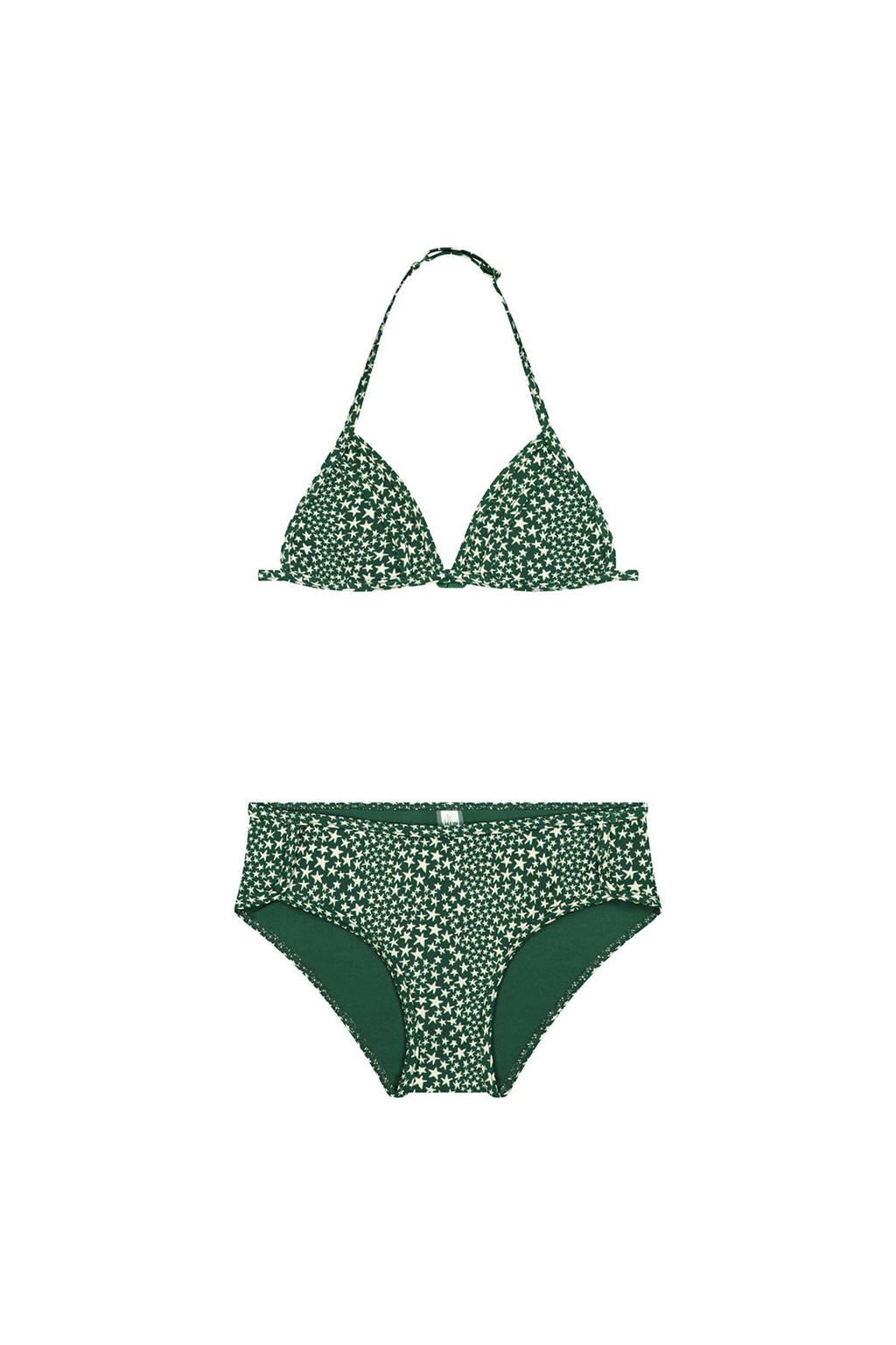 Shiwi triangel bikini Tuvalu met sterren groen//wit, Groen/wit