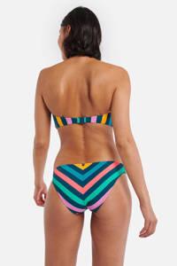 Shiwi gestreept bikinibroekje Sunkissed petrol, Petrol/rood/roze/geel/turquoise