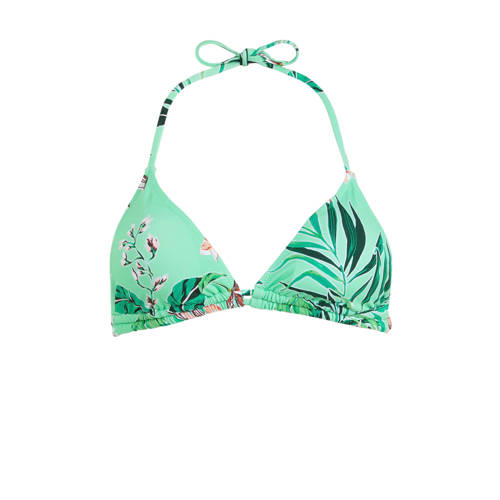 Shiwi gebloemde triangel bikinitop turquoise/roze