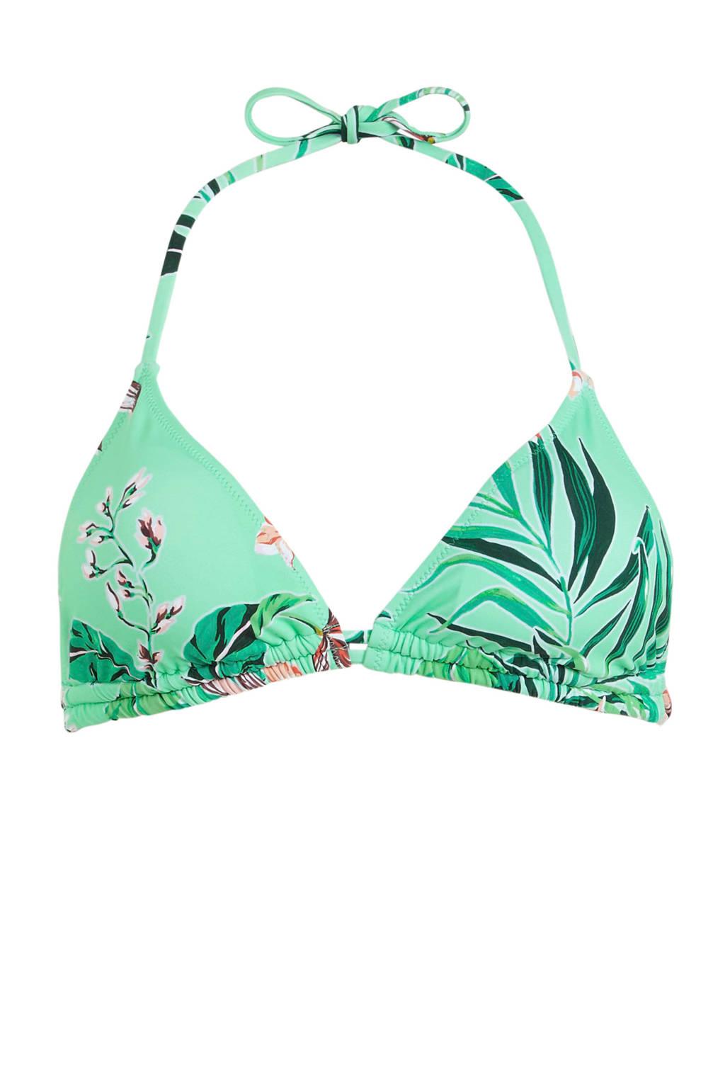Shiwi gebloemde triangel bikinitop turquoise/roze, Turquoise/roze/oranje