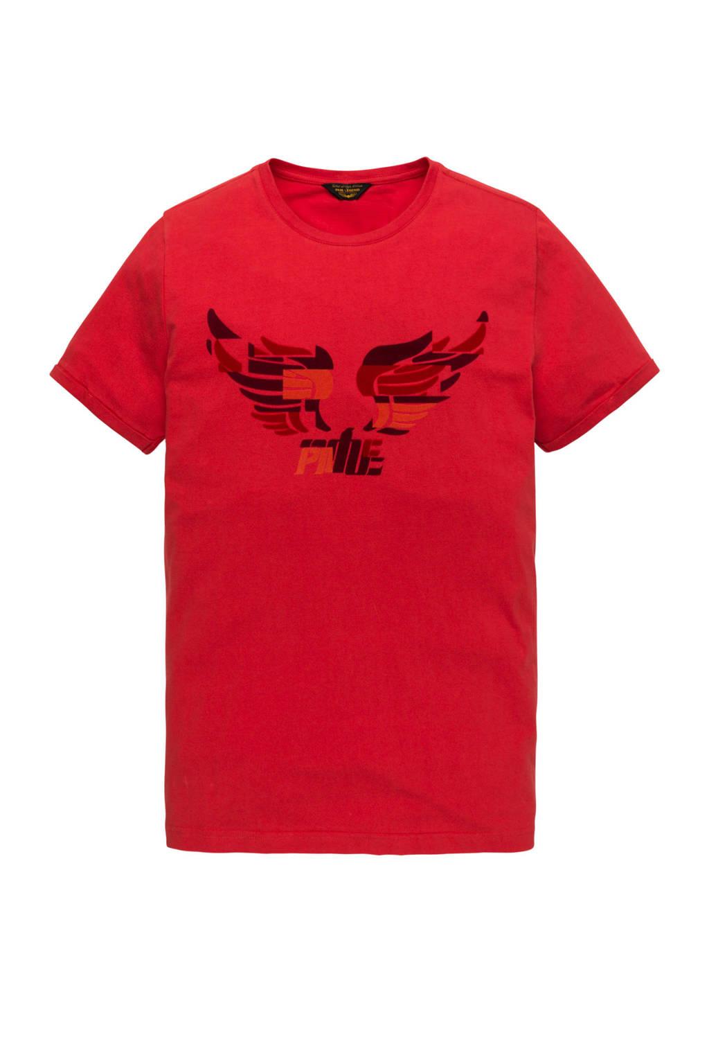 PME Legend T-shirt met logo rood, Rood