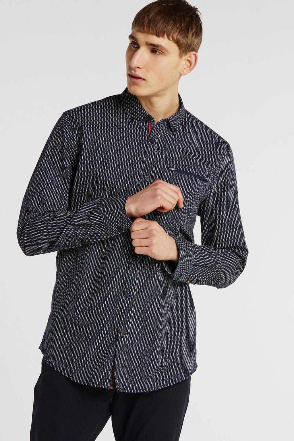 PME Legend slim fit overhemd met all over print grijs, Grijs