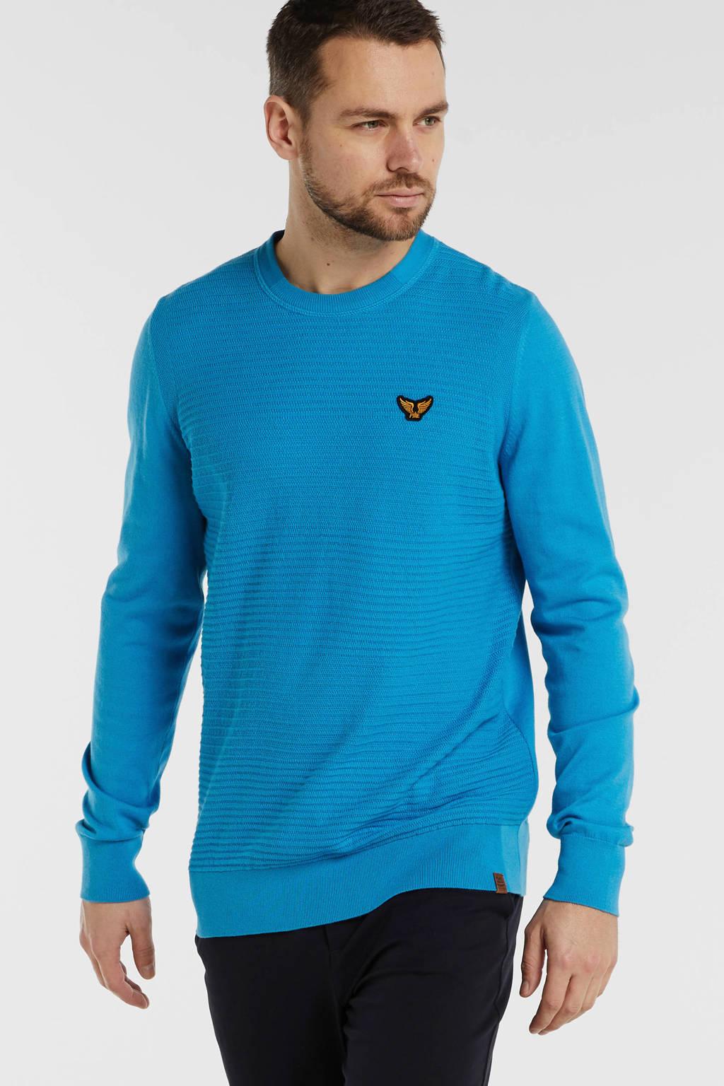 PME Legend sweater met logo blauw, Blauw