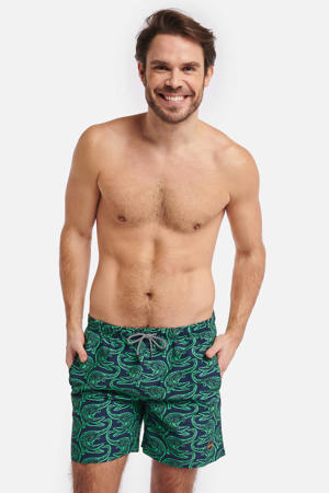 zwemshort Alligator met all over print donkerblauw/groen