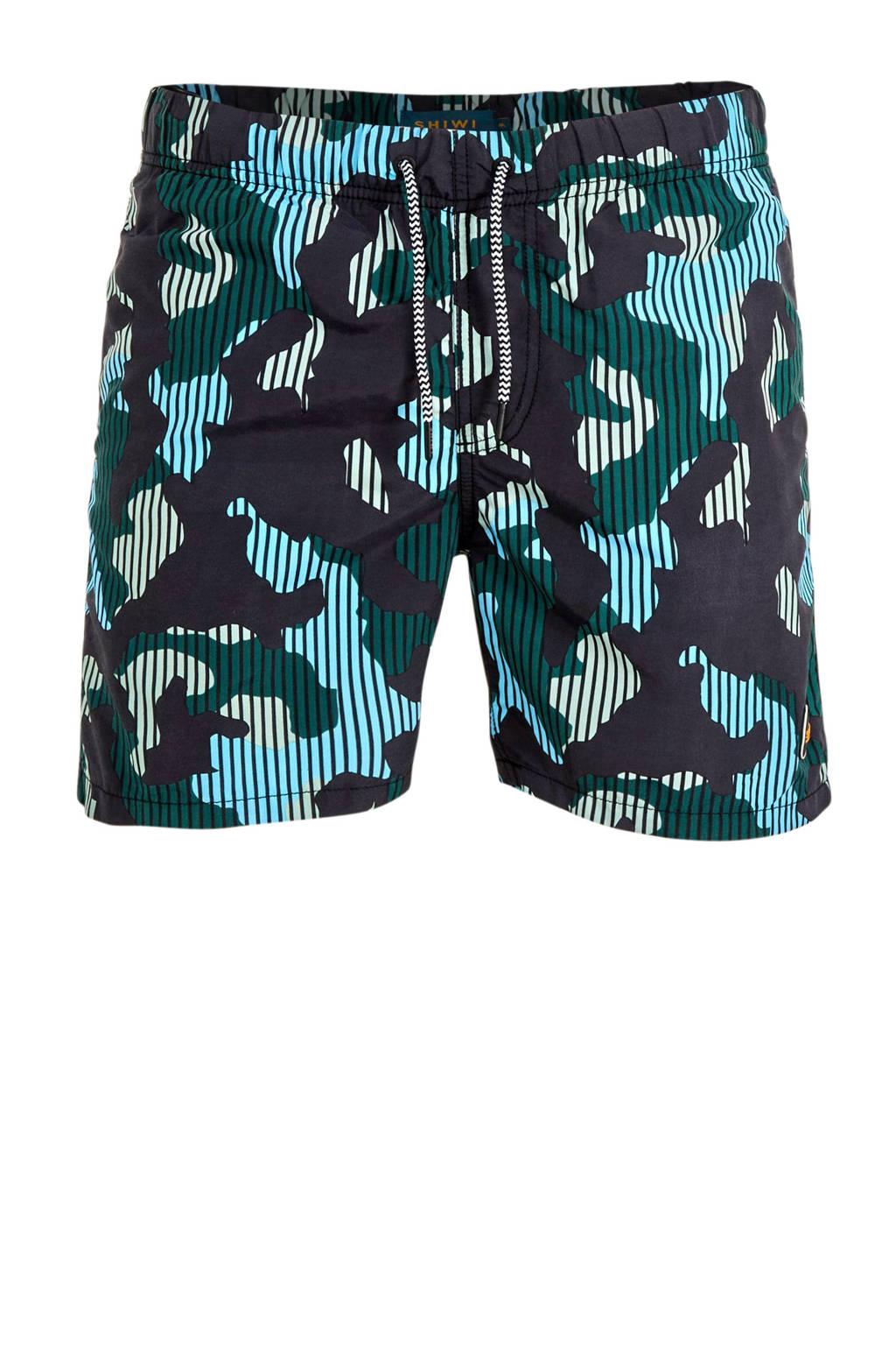 Shiwi zwemshort Camouflage met all over print groen/zwart, groen/zwart/lichtblauw