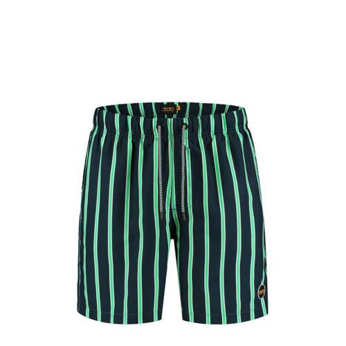 Shiwi gestreepte zwemshort donkerblauw/groen/wit