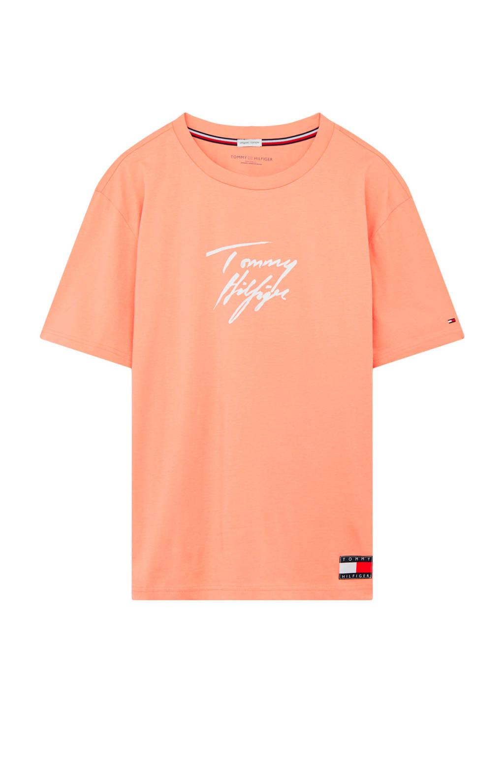 Tommy Hilfiger T-shirt met printopdruk zalmroze, Zalmroze