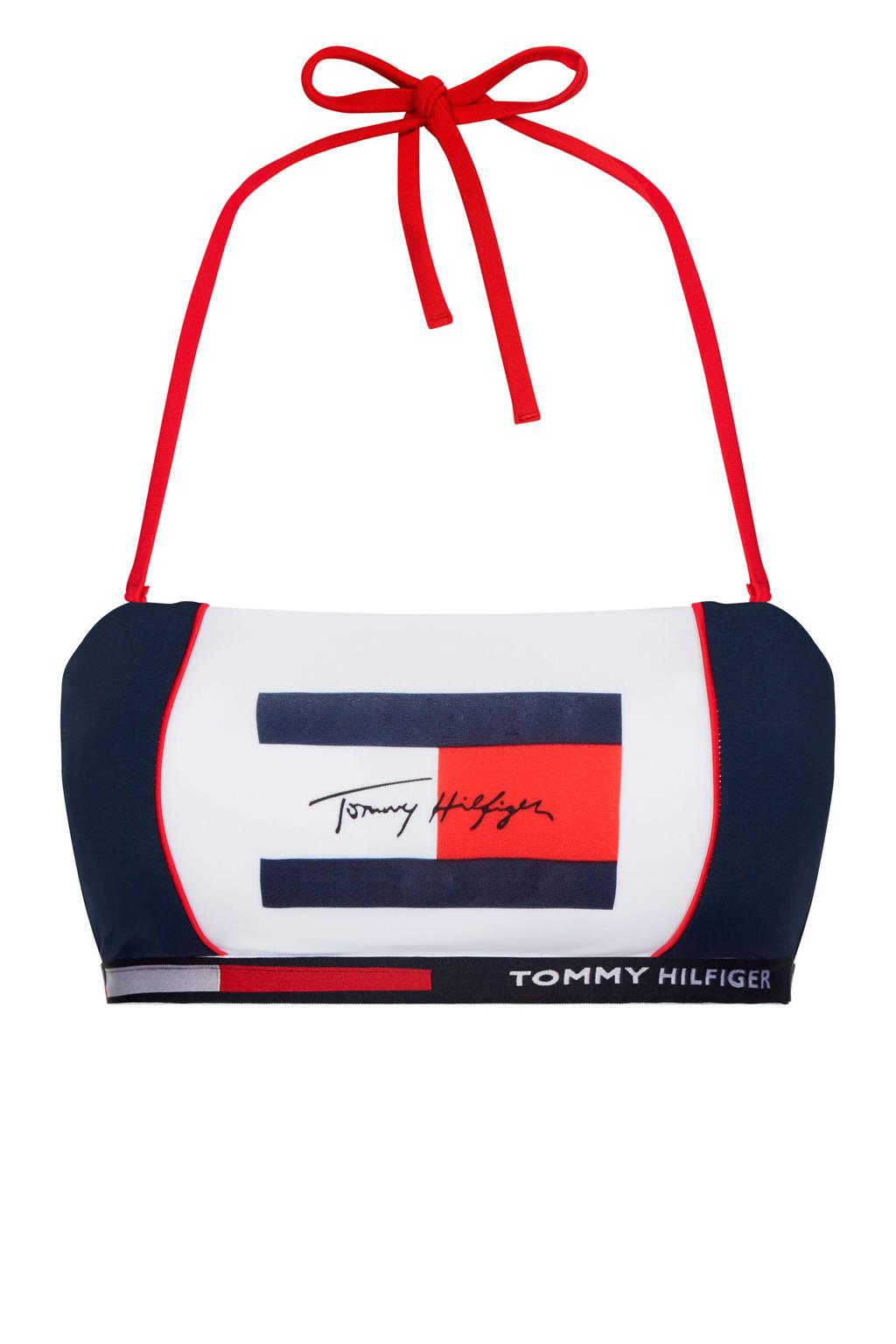 Tommy Hilfiger bandeau bikinitop marine/wit, Marine/wit