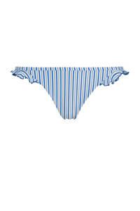 Tommy Hilfiger gestreept bikinibroekje met ruches lichtblauw/wit, Blauw