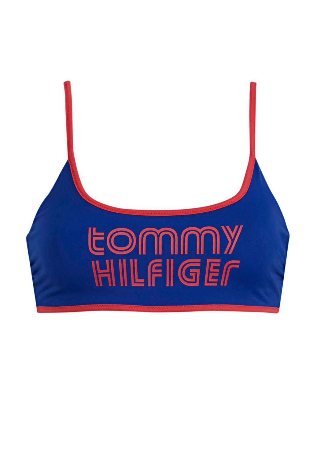 Tommy Hilfiger crop bikinitop met logo blauw, Blauw