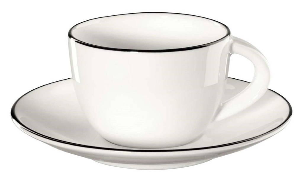 ASA Selection espresso kopje met schotel A Table Ligne Noire 7 cl, Wit
