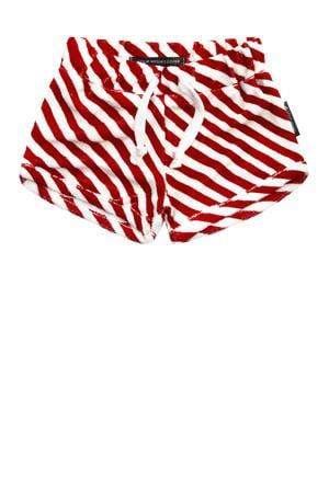 baby gestreepte short Red Stripes rood/wit
