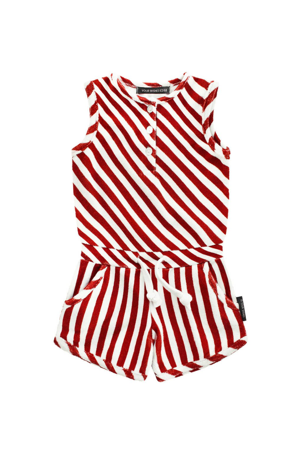 Your Wishes gestreepte jumpsuit Red Stripes rood/wit, Rood/wit