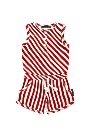 gestreepte jumpsuit Red Stripes rood/wit