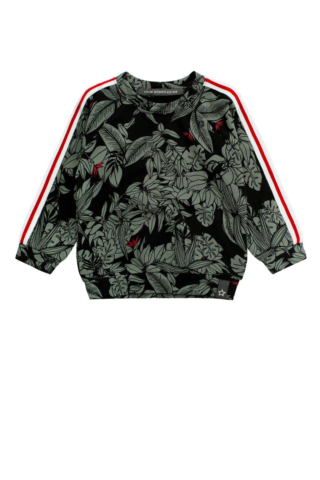 Your Wishes baby sweater Botanic met all over print zwart, Zwart