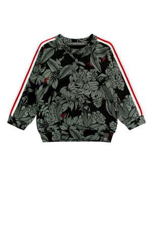 baby sweater Botanic met all over print zwart