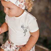 Your Wishes T-shirt Flamingo met printopdruk wit, Wit