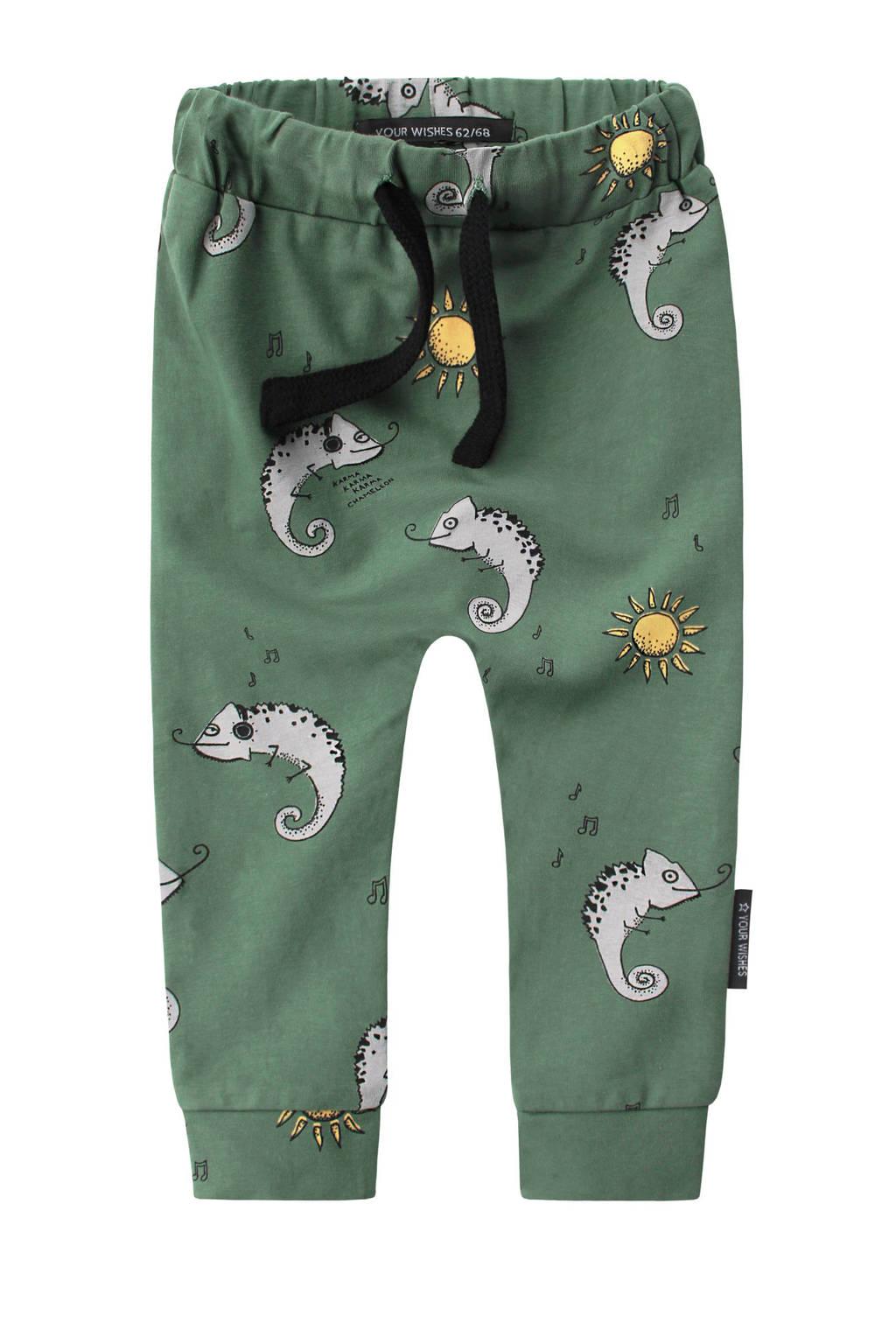 Your Wishes baby broek met dierenprint groen, Groen