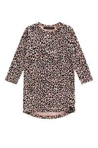 Your Wishes jurk met panterprint roze/zwart/wit, Roze/zwart