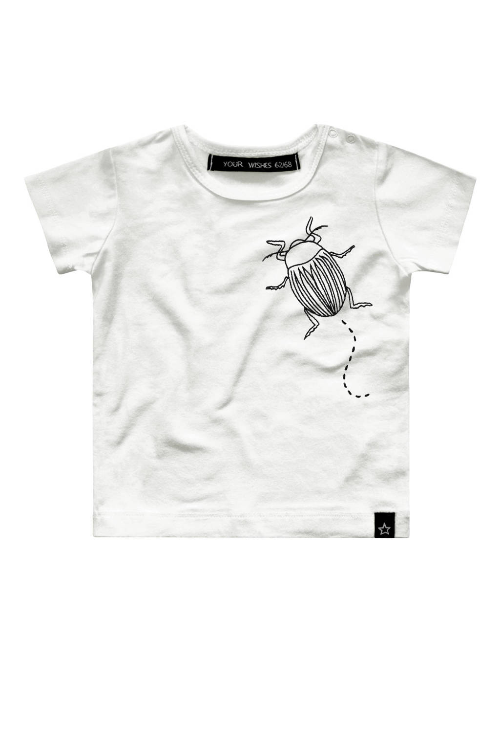 Your Wishes baby T-shirt Bugs met tekst wit, Wit