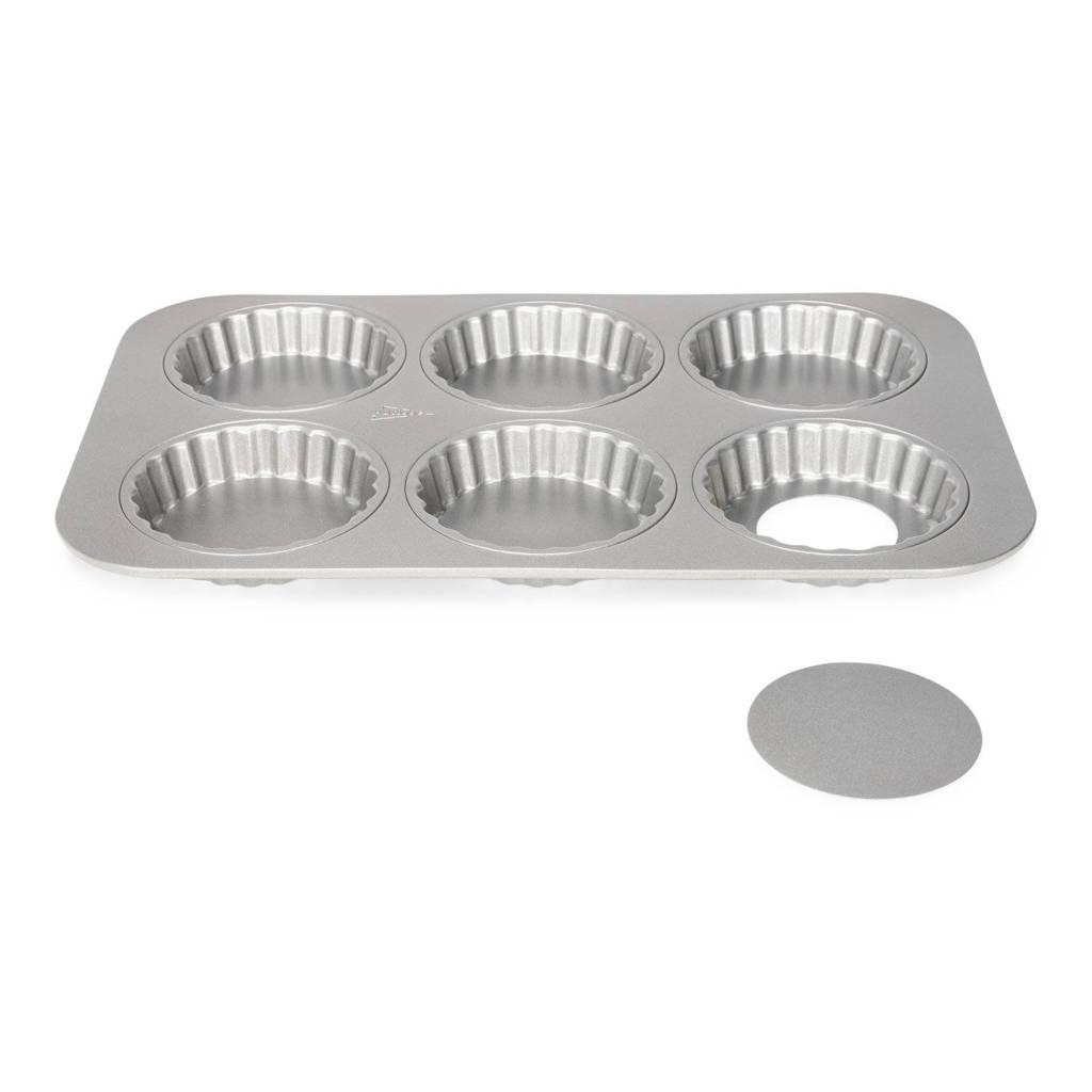 Patisse Mini quichevormpjes Silver Top 6 vaks, Zilverkleurig