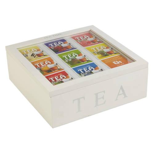 Luxe houten Theedoos Wit Tea Time (9 vakken)