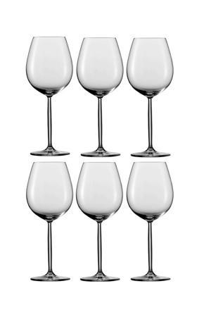rode wijnglas Diva  - set van 6