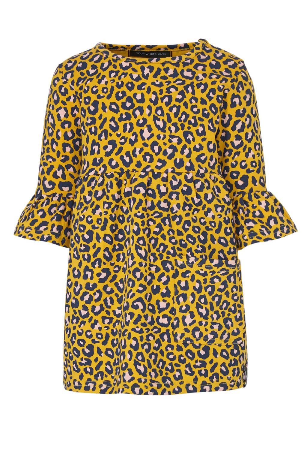 Your Wishes jersey jurk met panterprint en ruches okergeel/zwart/wit, Okergeel/zwart/wit
